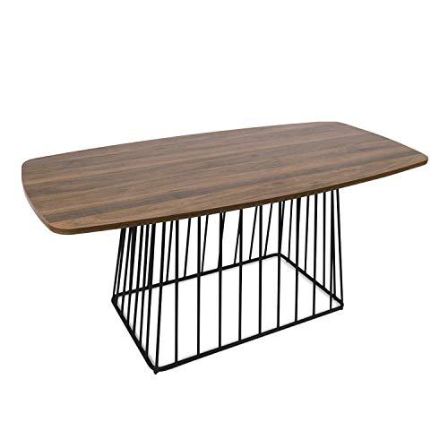 Moncot CT391-WN - Mesa de centro rectangular con estructura de metal negro, mesa de café portátil con tablero vintage de madera de nogal para salón, dormitorio, oficina, CT391-WN