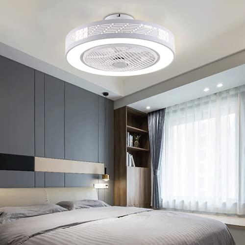 22 Zoll LED Licht Deckenleuchte + Fernbedienung 3 Farben Deckenleuchte Dimmbar Deckenventilator Leise 3 Windgeschwindigkeit Runde Acryl Ventilator mit Beleuchtung für Wohnzimmer Schlafzimmer