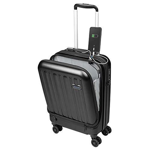 Kabinenkoffer Fach für Laptop 16'' Handgepäck, Leichter Trolley, robust und widerstandsfähig 4 Doppelrollen um 360° drehbar, TSA-Schloss Sulema USB (Schwarz)