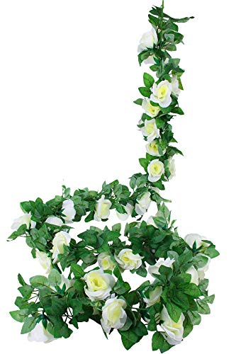MARTHA&IVAN 3 Strands Artificial Rose Garland Fake Rose Vine Faux Hanging Flower Garland for Wedding Arch Backdrops Home Decor (White, 3)
