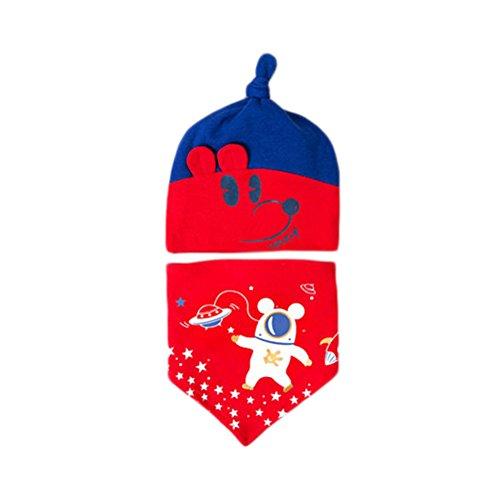 Demarkt Chapeaux de Sommeil Nouveau-Nés de Printemps et d'été 0-12 Mois Bébé Coton Infantile salive Serviette Chapeau 2 Ensembles Convient pour Bébé de 0 à 1 an (Rouge)
