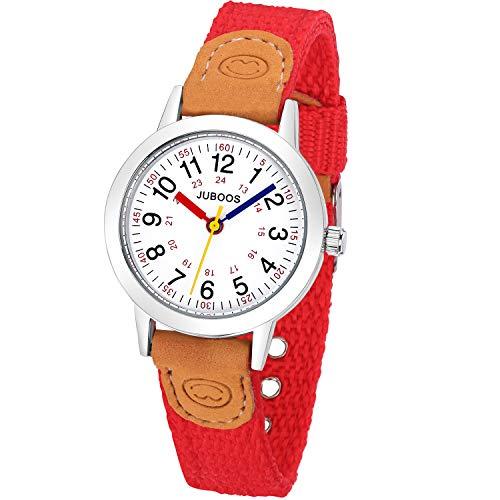 Reloj de pulsera analógico de cuarzo para niña, color rojo