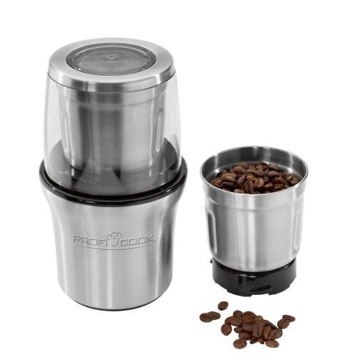 ProfiCook PC-KSW 1021 N, 2-in-1 Kaffeeschlagwerk & Zerkleiner in Einem, für Kaffeebohnen / Gewürze / Nüsse etc., Sicherheitsschaltung, Edelstahl