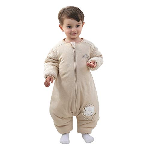 Mosebears Baby Winter Sleeping Bag with Legs, Baby Sleep Sack for Toddler Thicken 2.5 TOG (Lion,100(Baby Height 39-43 inches))
