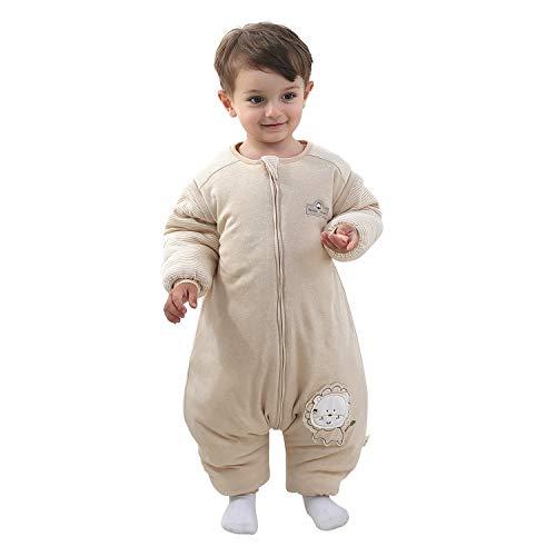 Baby Schlafsack mit Beinen Warm gefüttert winter kinder schlafsack abnehmbaren Ärmeln,Junge Mädchen Unisex Schlafanzug (Lion,6-18 Monate(baby height 75-85cm))