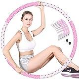 hula hoop fitness adulto, diámetro 94 cm 1-5kg weighted Hula Hoop 6 secciones desmontables de acero inoxidable suave espuma de algodón Hula Hoops para damas, pérdida de peso entrenamiento, rosa blanco