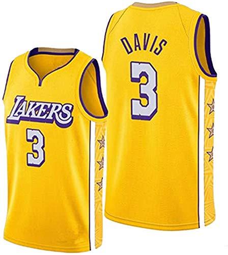 WSWZ Maglia NBA - Lakers 3# Maglie da Basket da Uomo di Anthony Davis NBA - Unisex Comodo Maglietta con Canotta Sportiva da Basket,XL(180~185CM/85~95KG)
