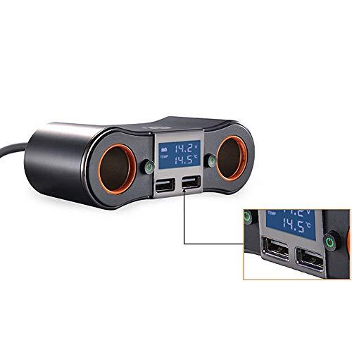 HJJH Double Chargeur de Voiture USB Adaptateur Secteur avec Interrupteur Marche/arrêt et Support d'affichage de la Tension Charge Rapide Smartphones compatibles Tablettes Dash Cam, etc.