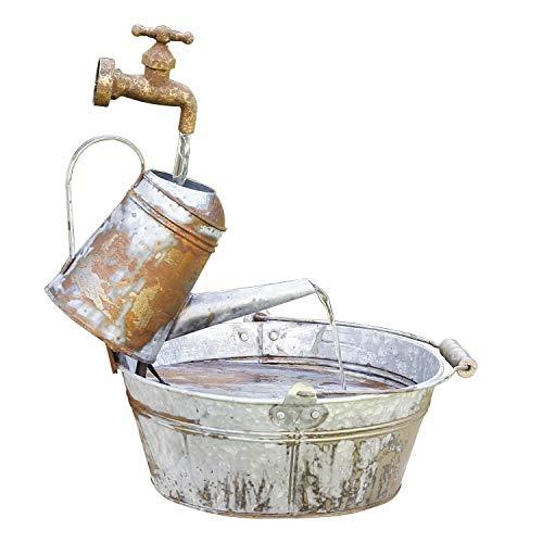 Alpine Corporation MCC528 Alpine Rustic Watering Can Fountain, Bronze and Silver