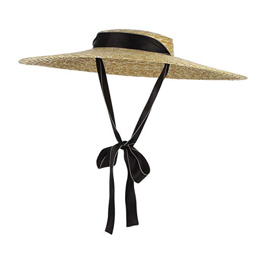 Neue Strohhut mit großer Krempe Sommerhüte für Frauen Ribbon Beach Cap Boater Flat Top Sonnenhut-White Black-15cm Brim