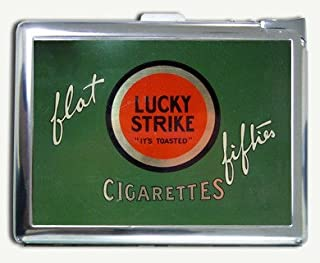Vintage Look Lucky Strike Flat Fifties Cigarette Case with Lighter