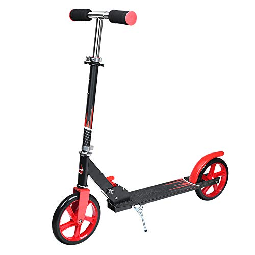 UHINOOS Adults Kick Scooter 200MM with Kickstand-Big Wheels Kids Scooter with Easy Folding System for Teenager (Black and red)