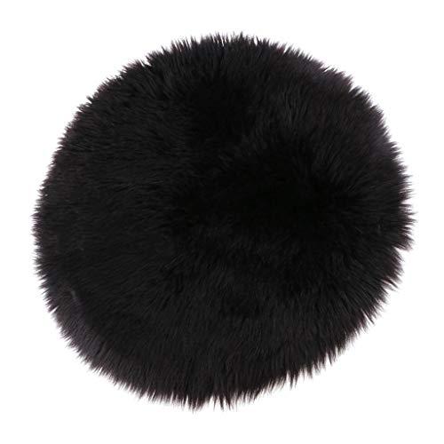 Sharplace Tapis Artificiel en Peau de Mouton Fausse Fourrure Conception Écologique Carpette Coussin de Siège - Noir