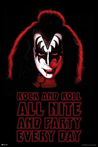 Kiss Poster Demon Gene Simmons Solo Album Rock and Roll All Night and Party Every Day Kiss Band Merchandise Kiss Collectibles Kiss Memorabilia Heavy Metal Merch Cool Wall Decor Art Print Poster 12x18