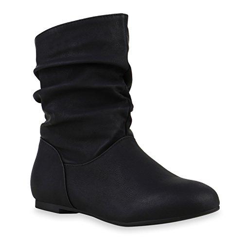 Damen Klassische Stiefel Schlupfstiefel Leder-Optik Bequeme Stiefeletten Boots Schuhe 122507 Schwarz 40 Flandell