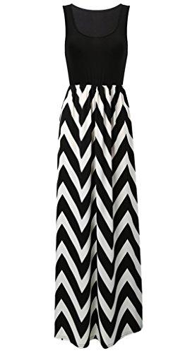 Cloudsemi Damen Sommerkleid Kleider Maxikleid Streifen Schulterfrei Rundhals High Waist Lang Kleid Partykleid (S, Schwarz)