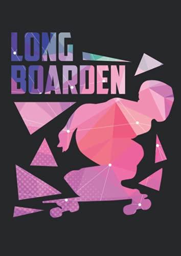 Notizbuch A4 kariert mit Softcover Design: Longboard Polygon Kunst gemetrische Formen Longboarding: 120 karierte DIN A4 Seiten