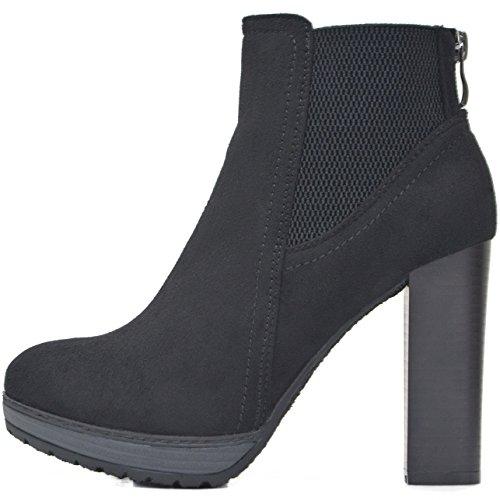 Kayla Shoes Chelsea Boots Plateau Stiefeletten mit Blockabsatz in Holzoptik (40, Schwarz Samt)