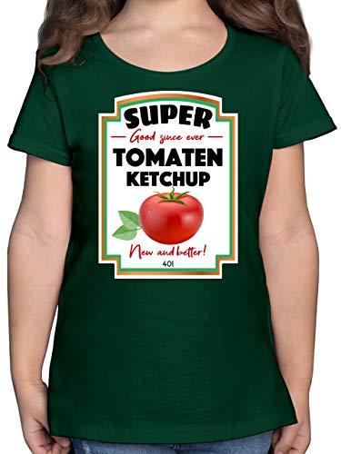 Karneval & Fasching Kinder - Ketchup Kostüm Funny - 104 (3/4 Jahre) - Tannengrün - Ketchup t-Shirt - F131K - Mädchen Kinder T-Shirt