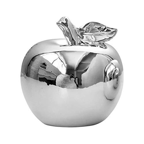 AMOLEY Dekofigur Apfel, Keramik, Silber/Gold, Dekoration für Küche, Esstisch, silberfarben