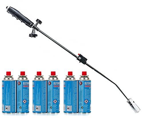 Unkrautbrenner mit Gaskartuschen Abflammgerät Gasbrenner Piezo Zündung Unkrautvernichter Brenner (Unkrautbrenner + 6 Gaskartuschen)