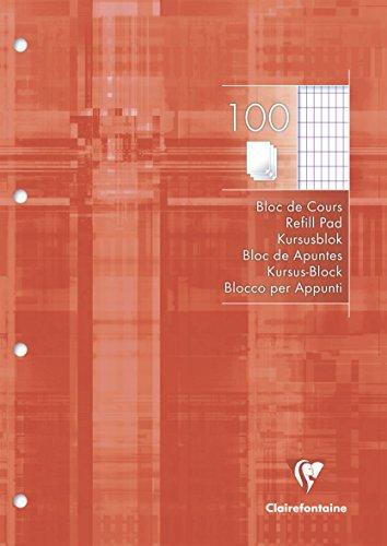 Clairefontaine 5817C Kursusblock (mit 100 Blatt, rautiert, DIN A4, 21 x 29,7 cm, 100 Blatt, ideal für die Schule) 1 Stück weiß