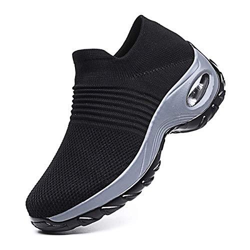Mujer Ligero Malla para Casuales Running Aumentar Zapatillas De Deporte Caminar Confortable Zapatos Plano Entrenadores (39 EU, 2 Negro)