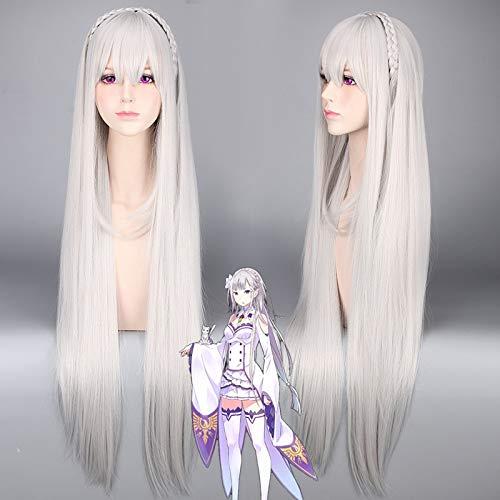 La vida en un mundo diferente de Zero Re: zero Kara Hajimeru Isekai Seikatsu Emilia Cosplay peluca gris trenza larga disfraz pelucas Anime