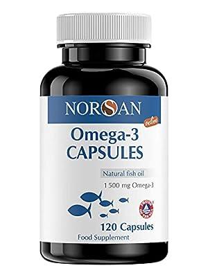 NORSAN Premium Omega 3 Kapseln hochdosiert - 1500 mg Omega 3 pro Portion - Über 4000 Ärzte empfehlen NORSAN - NORSAN Fischöl Kapseln 100% natürlich, kein Aufstoßen