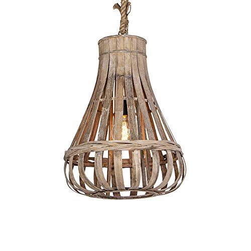 QAZQA Landhaus/Vintage/Rustikal Ländliche Pendelleuchte/Pendellampe/Hängelampe/Lampe/Leuchte Holz mit Seil 44cm - Excalibur/Innenbeleuchtung/Wohnzimmerlampe/Schlafzimmer/Küche/R