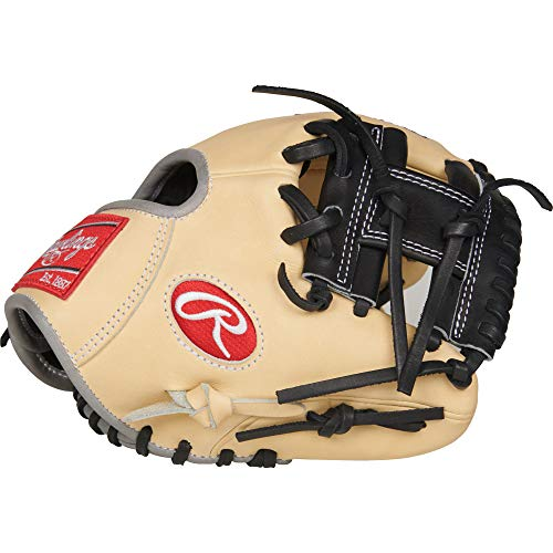 Rawlings Heart of The Hide Infield Training Baseball Glove, Camel/Black, 9.5 inch, Right Hand Throw