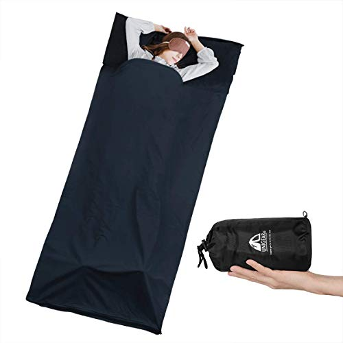 Unigear Hüttenschlafsack aus Baumwolle, Reiseschlafsack mit Kissenfach und Doppeltem Reißverschluss Schlafsack Inlett Inlay Sommerschlafsack dünn, leicht & Atmungsaktiv (Dunkelblau-1stk.)