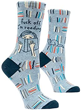 Blue Q Women s Crew Socks - Fuck Off I m Reading Perfect for Book Lovers Fit shoe size 5-10 Cute image on a light blue background.