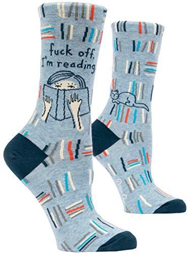 Blue Q Women#039s Crew Socks ~ Fuck Off I#039m Reading fit shoe size 510