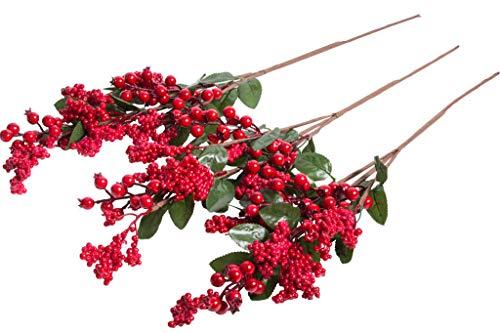 JSC künstlicher Beerenzweig mit großen und kleinen Beeren Farbe: rot (3 Stück)