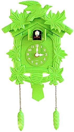 Reloj de Cuco de Cuarzo Casa de la Selva Negra con Llamada de Cuco y Mecanismo Musical, Reloj de Cuco Reloj de Cuco de Madera auténtica,-Green