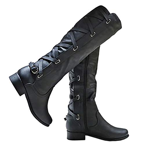 Syktkmx Womens Winter Knee High Riding Boots Back Lace Up Chunky Flat Low Heel Closed Toe Side Zip Bottine