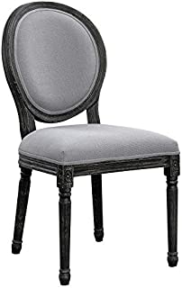 Oval Back Dining Room Chairs Grey and Black with Wire Brushed (Set of 2)