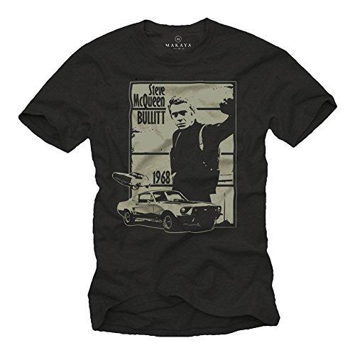 Herren T-Shirt mit Aufdruck Bullitt schwarz Größe XL
