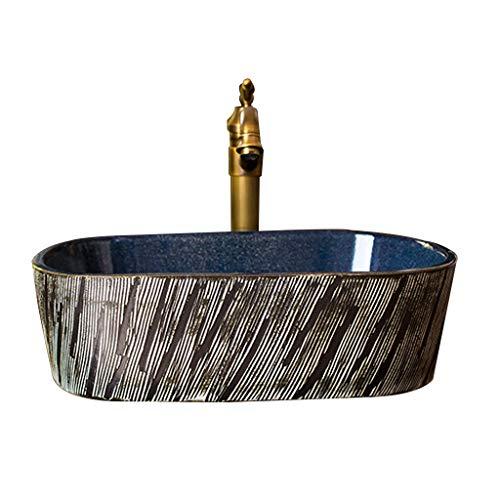 MinMin Badezimmereitelkeit kleine Wohnung Hauptdekoration Retro-Kunst oval Keramik Tisch Badezimmer Waschbecken Balkon Wäsche Pool Badezimmer Becken 49x36x14cm Kunst Becken (Size : 49x36x14cm)