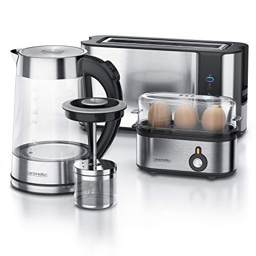 Arendo - Edelstahl Glas Wasserkocher mit Teesieb + Temperatureinstellung 1,7 L - Edelstahl 2 Scheiben Toaster Langschlitz Toaster Edelstahl Eierkocher für 1-3 Eier