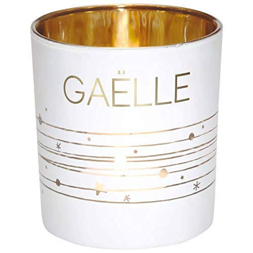 Photophore prénom en Verre Blanc et Or - Gaëlle - Draeger