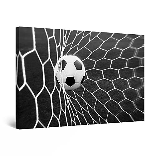 Startonight Quadro su Tela Bianco e Nero Sfere di Calcio, Stampe Incorniciato e Pronta da Appendere Design Moderno Arredamento Arte Fotografia Grande Formato 60 x 90 CM