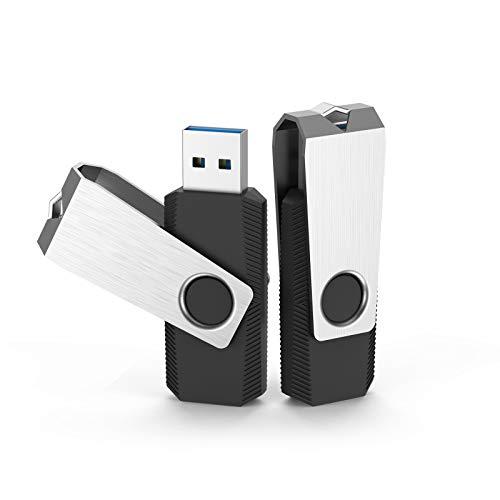 KOOTION Clés USB 64 Go 3.0 Lot 2 Cle USB Haute Vitesse Clé USB 64 GB Couleur Disque U 64 Giga Pas Cher Grande Capacité Flash Drives Memory Stick Pendrive pour Windows,Mac OS,Linux(2 Lot Noir)