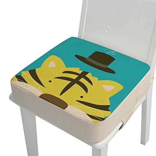Kinder Sitzkissen Sitzerhöhung Stuhl, Fansu Baby Tragbar Sitzkissen Cartoon Design Quadratische Verstellbar Zerlegbar Kleinkinder Esszimmerstuhl ErhöHen Pad Esszimmer Boostersitze (Tiger,40*40*10cm)
