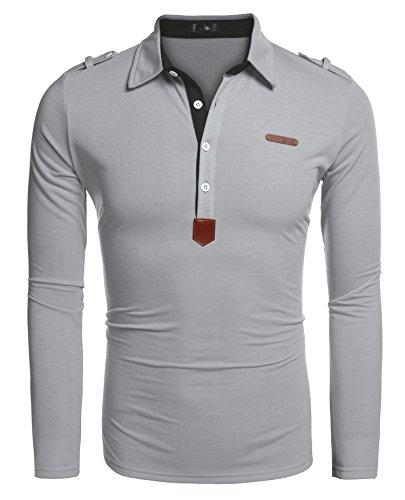 Coofandy Polos Manga Larga Hombre Casual Cuello Clásico Slim Fit con Botones