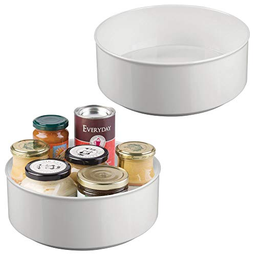 mDesign Juego de 2 estantes giratorios para Accesorios – Elegante Bandeja Redonda para Especias e Ingredientes de repostería – Base giratoria de plástico Libre de BPA y Acero – Gris Claro
