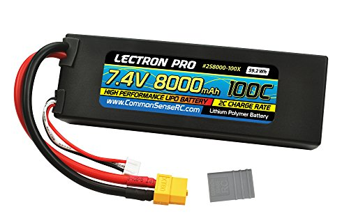 Lectron Pro 7.4V 8000mAh 100C Lipo Battery with XT60 Connector + CSRC Adapter for XT60 Batteries to Popular RC Vehicles for 1/10 Scale Cars, Trucks, and Buggies