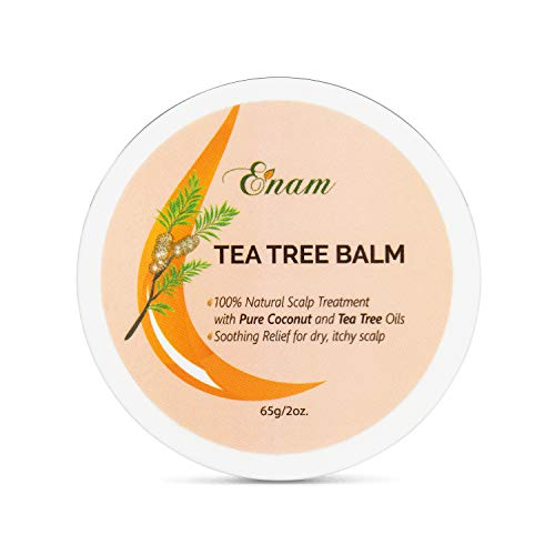 Enam Tea Tree Balm - 100% Natural Scalp & Hair Balm - Soothing Relief for Dry, Itchy Scalp | Dandruff Relief | Stimulates Scalp & Promotes Hair Growth | Tea Tree, Rosemary, Argan, Peppermint Oils