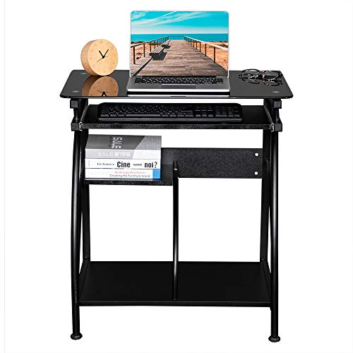 FCH Glass Top Computer Desk with Pull Out Keyboard Panel Simple Laptop Home Office Desk Computer Workstation